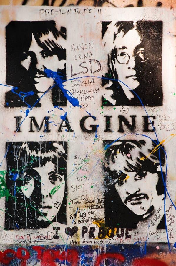 Pared de Lennon en Praga imagen de archivo