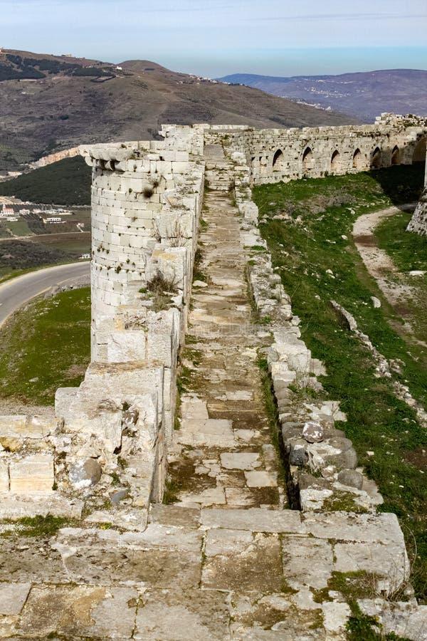Pared de los Chevaliers del DES de Krak imagen de archivo