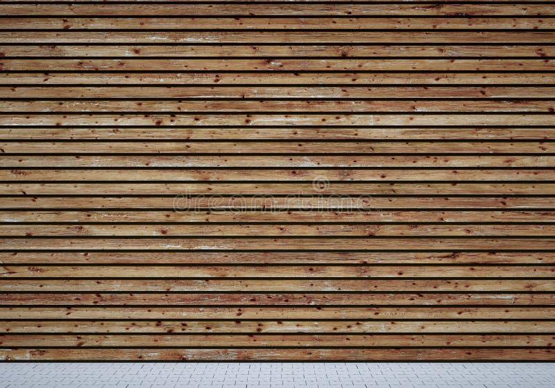 Pared de madera stock de ilustración