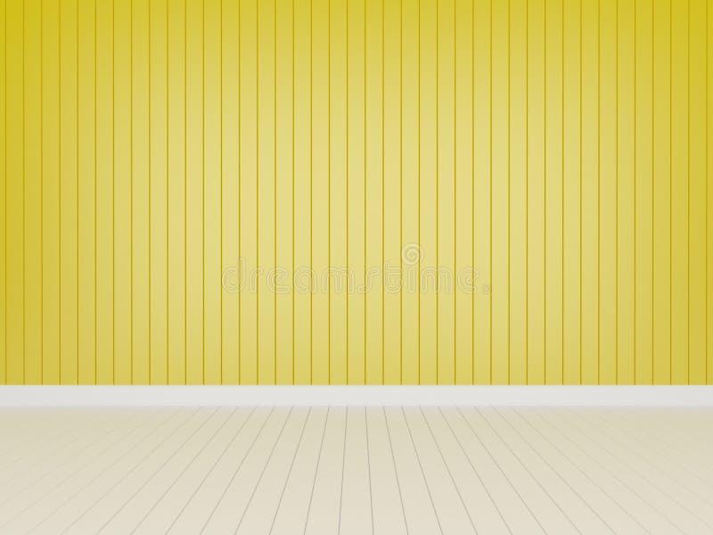Pared de madera amarilla con el piso de madera blanco ilustración del vector