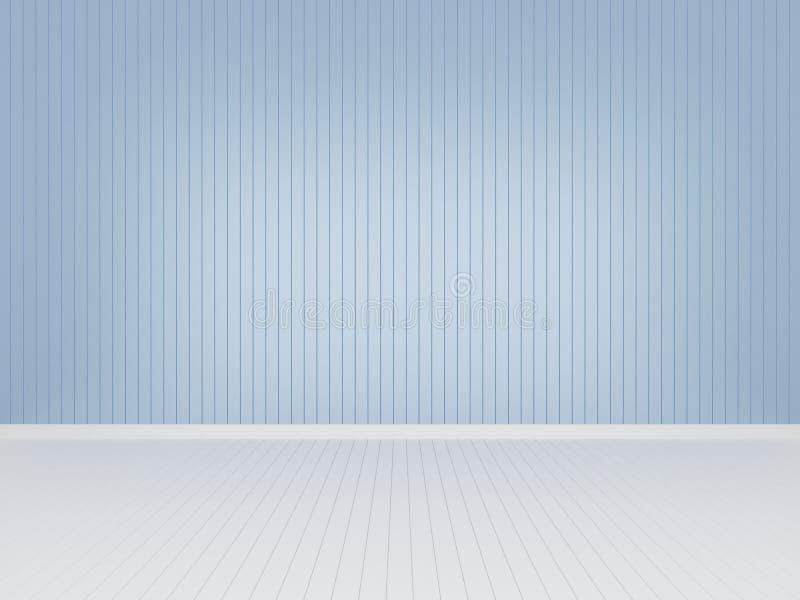 Pared de madera azul con el piso de madera blanco, representación 3d libre illustration