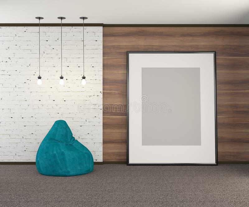 Pared de madera con la pieza de la pared del ladrillo blanco viejo con un cartel vac?o grande y bombillas representaci?n 3d ilustración del vector