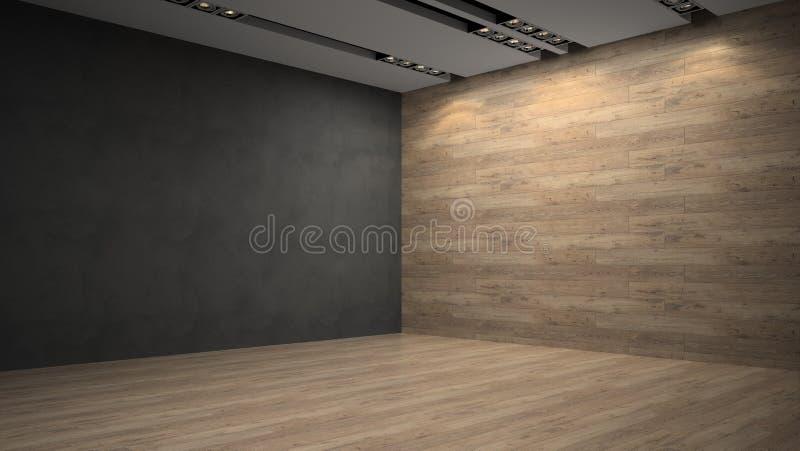 Pared de madera del whith vacío del sitio stock de ilustración