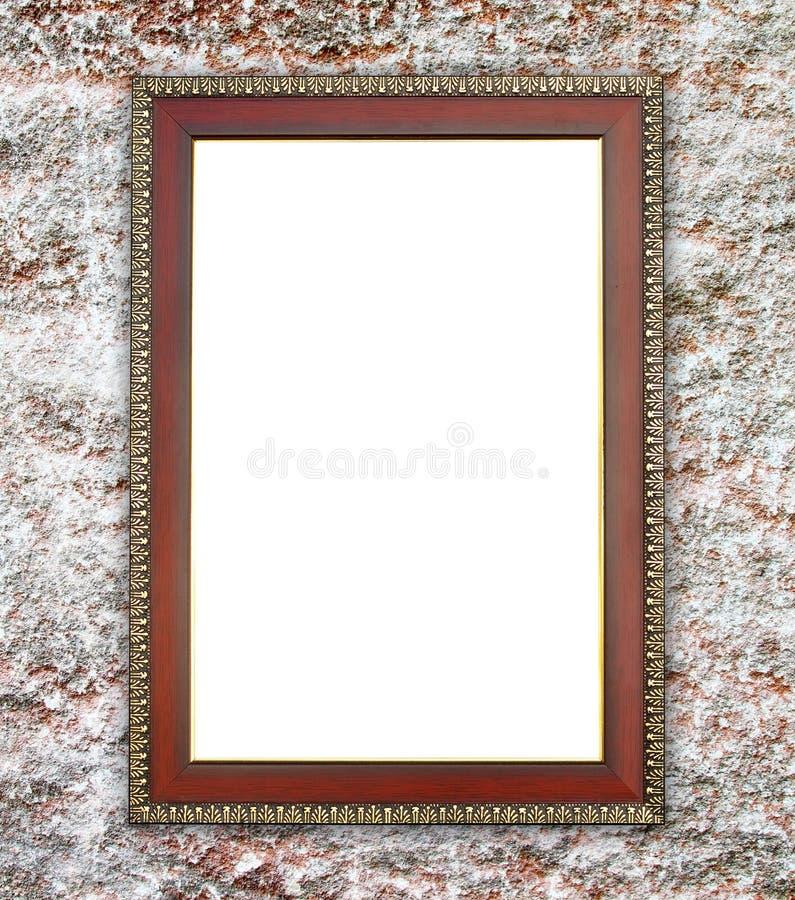 Pared de madera en la pared de piedra antigua foto de archivo