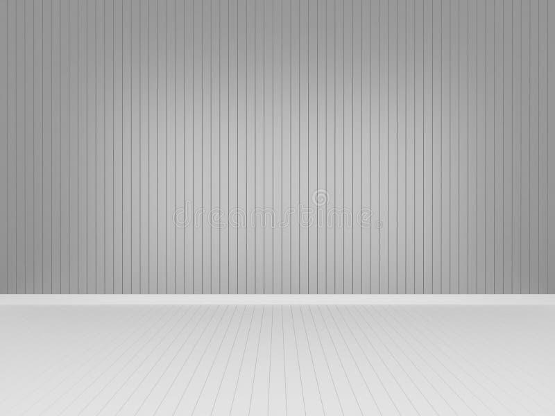 Pared de madera gris con el piso de madera blanco stock de ilustración