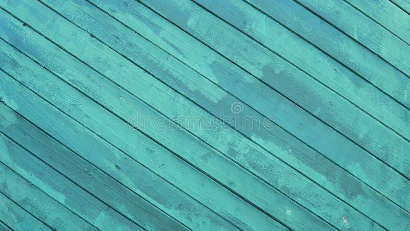 Pared de madera pintada vieja Textura Fondo de madera del vintage con la pintura de la peladura Teal Green Rustic Wood Board llan imagenes de archivo