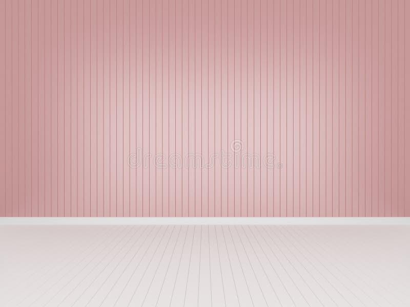 Pared de madera rosada con el piso de madera blanco, representación 3d ilustración del vector