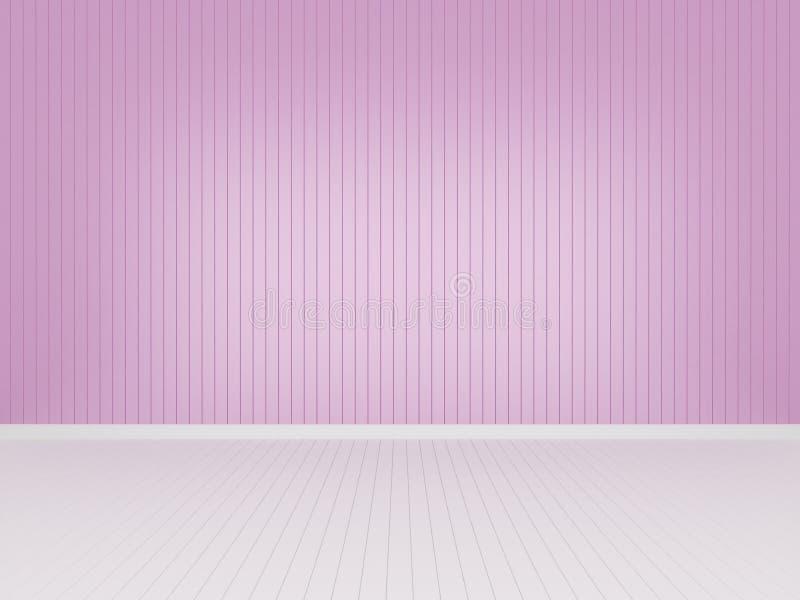 Pared de madera rosada con el piso de madera blanco, representaci?n 3d stock de ilustración