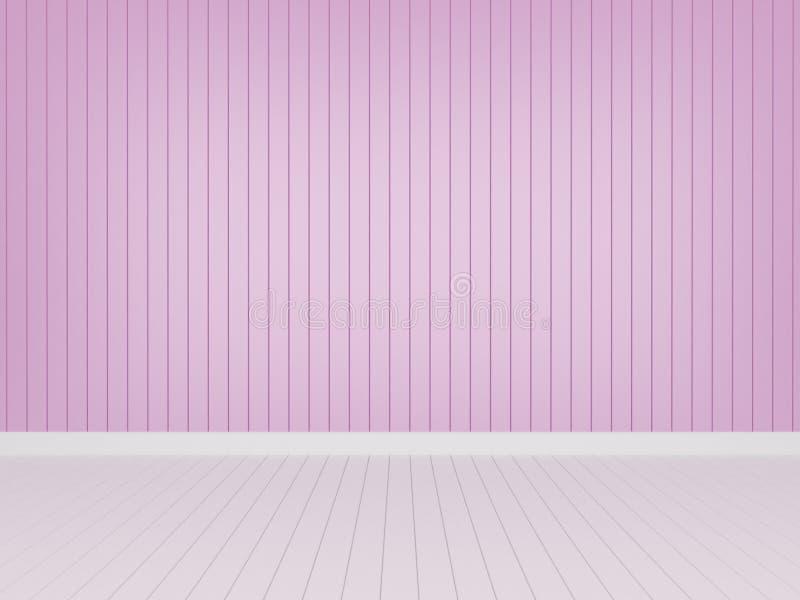 Pared de madera rosada con el piso de madera blanco ilustración del vector