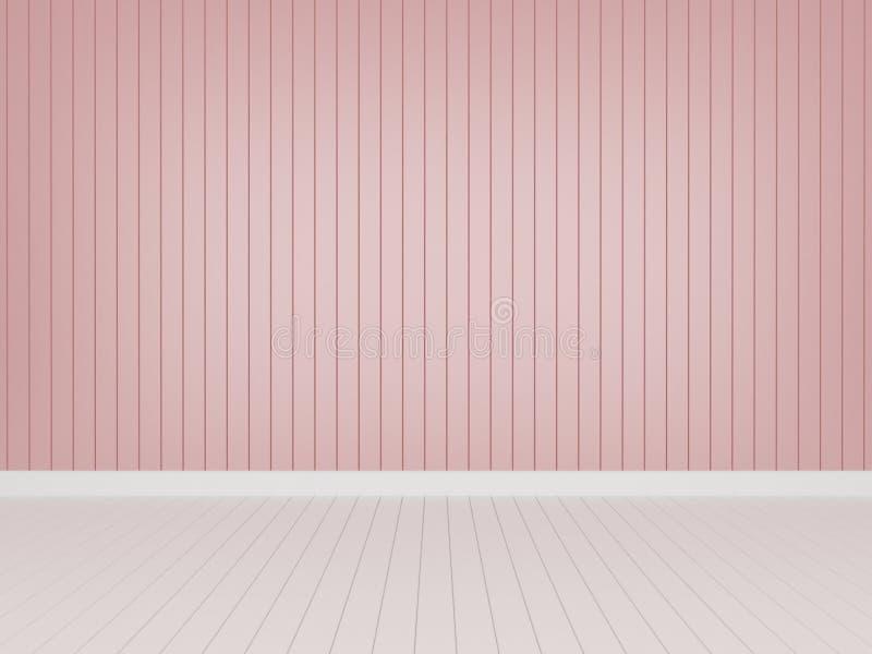 Pared de madera rosada con el piso de madera blanco stock de ilustración