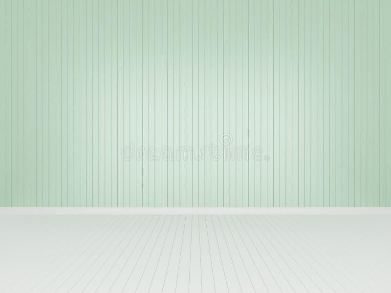 Pared de madera verde con el piso de madera blanco ilustración del vector