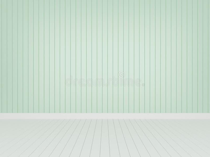 Pared de madera verde con el piso de madera blanco libre illustration