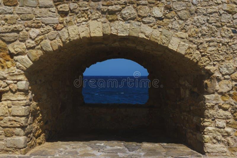 Pared de piedra de la fortaleza Kules en Heraklion en la isla de Creta, Grecia imagen de archivo