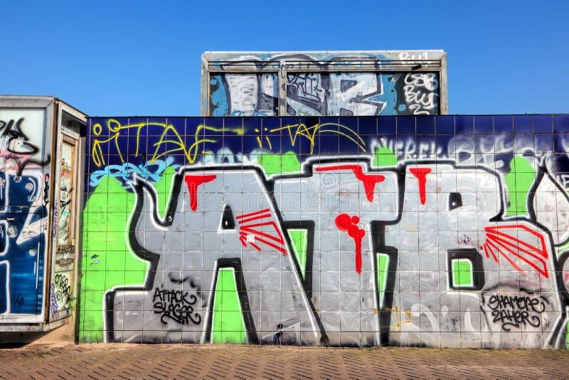 Pared de piedra de la pintada Street Art de la Amsterdam fotografía de archivo