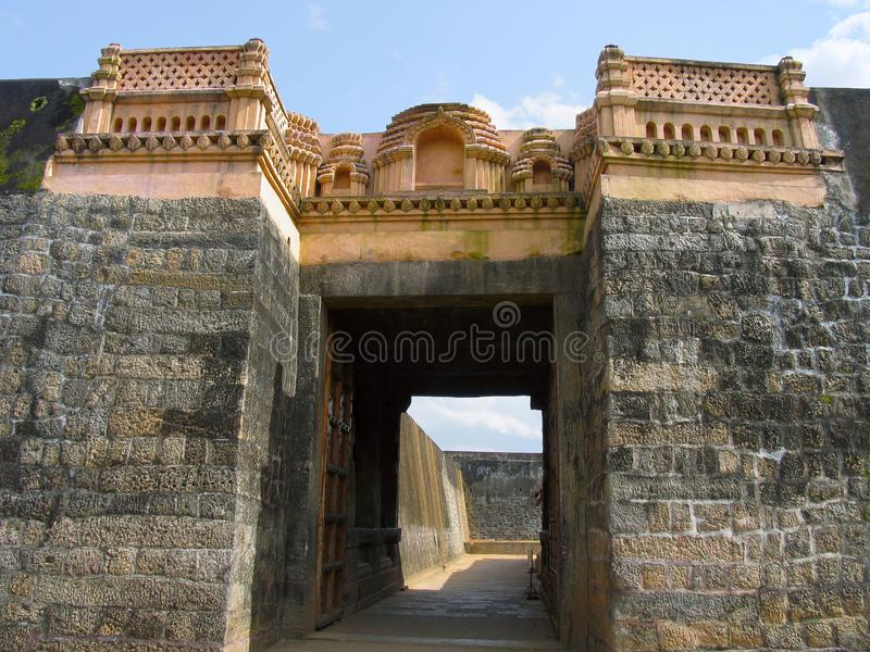 Pared de Tipu Sultan Fort, Palakkad, Kerala, la India imagen de archivo