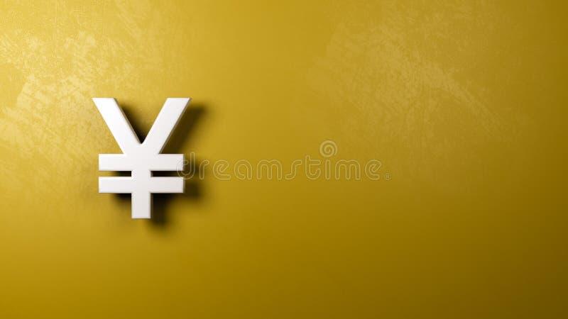 Pared de Yuan o de Yen Currency Symbol Shape Against ilustración del vector