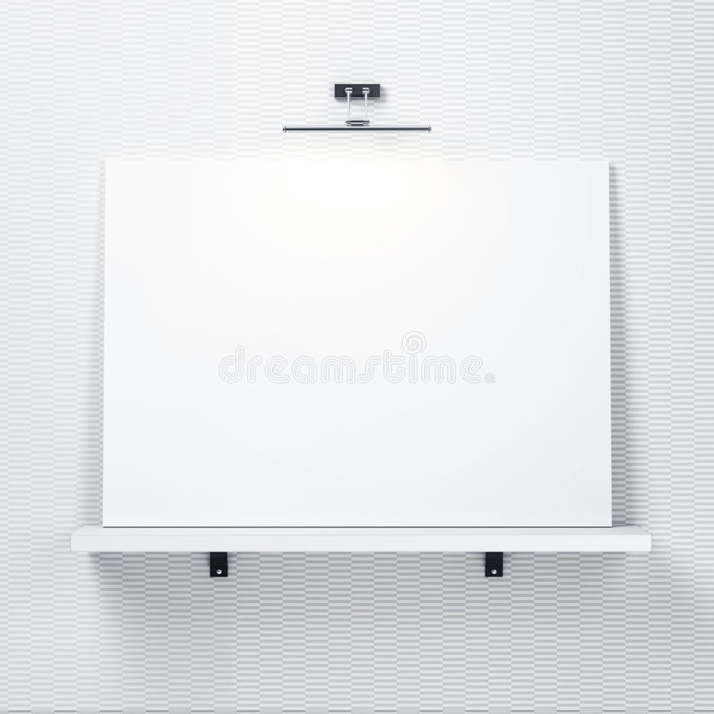 Pared decorativa blanca con el estante y cartel blanco libre illustration