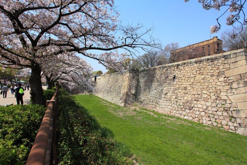 Pared del castillo de la ciudad de Osaka, Japón imagen de archivo libre de regalías