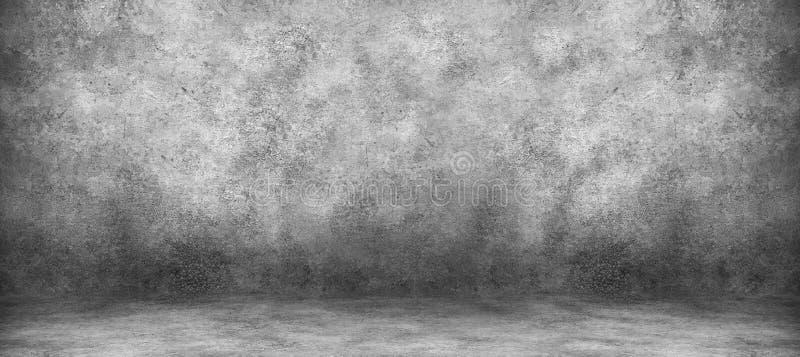 Pared del cemento y sitio grises del estudio con el fondo de los contextos Exhibición en blanco del producto fotografía de archivo