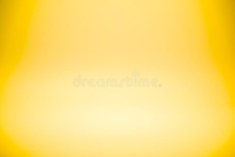 Pared del estudio del extracto de la pendiente del oro amarillo para el producto o el texto del diseño del contexto encima ilustración del vector