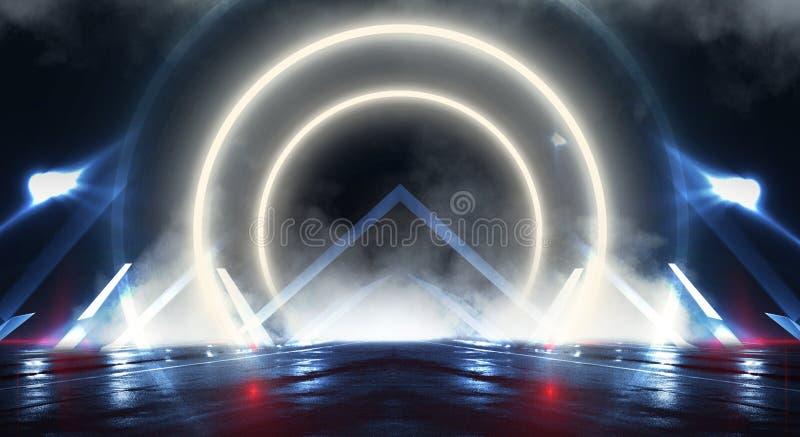 Pared del fondo con las líneas y los rayos de neón Pasillo oscuro del fondo con la luz de neón Fondo abstracto con las líneas y e foto de archivo