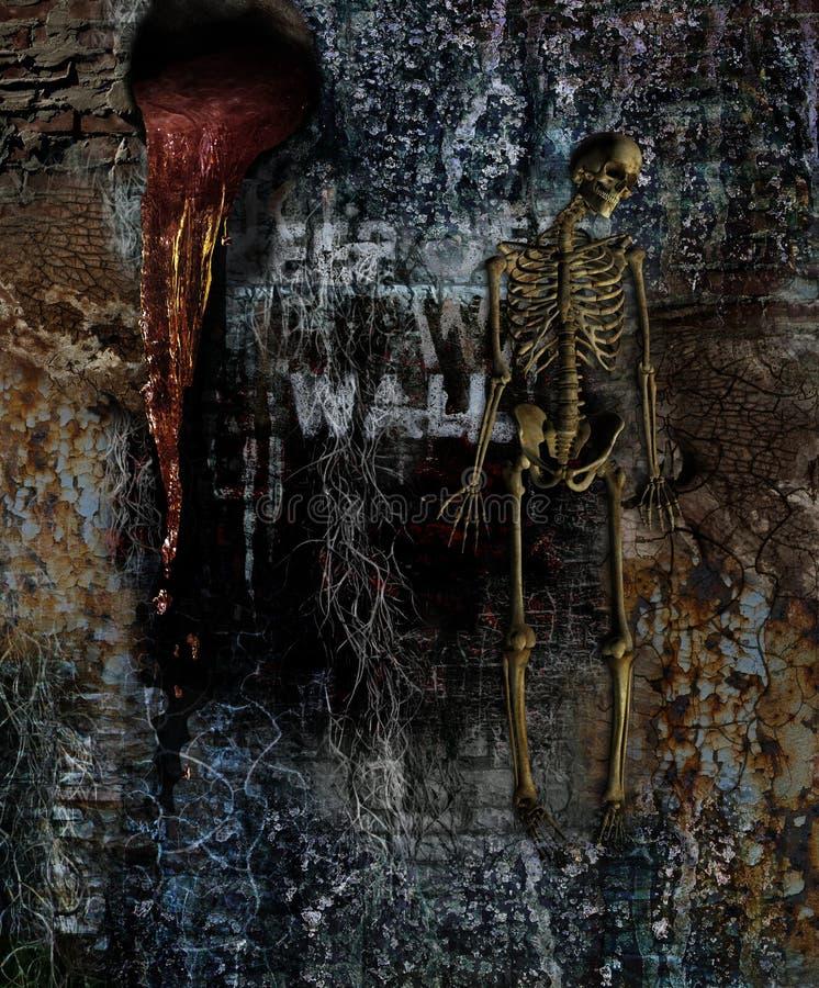 Pared del horror con el esqueleto imágenes de archivo libres de regalías