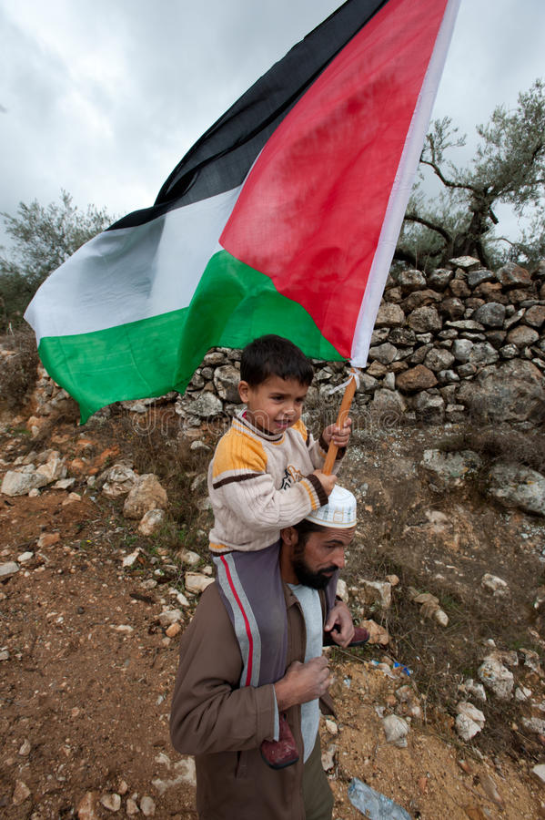 Pared del israelí de la protesta de los palestinos imagen de archivo