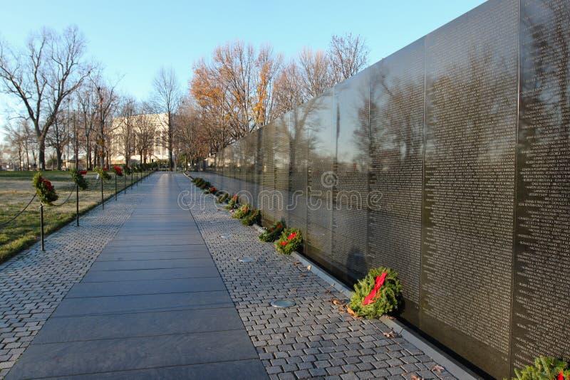 Pared del monumento de los veteranos de Vietnam imagenes de archivo