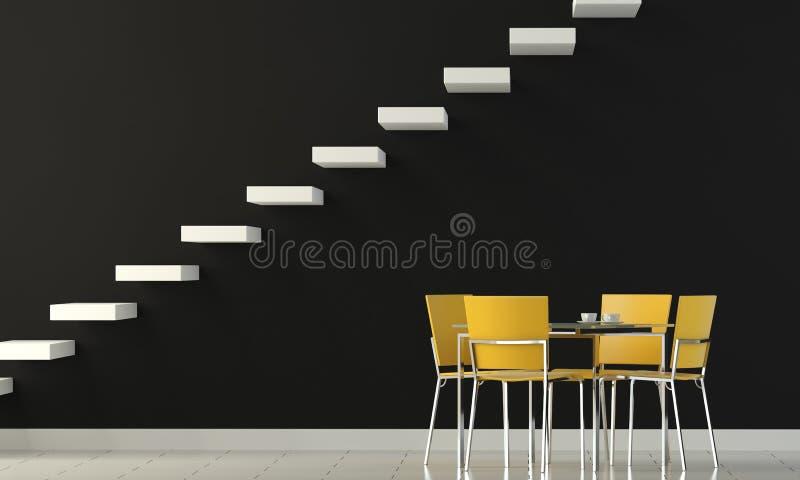 Pared del negro del diseño interior stock de ilustración