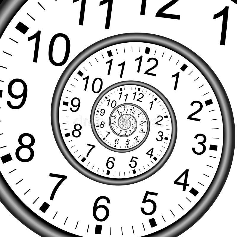 Pared del reloj del espiral del tiempo del infinito stock de ilustración
