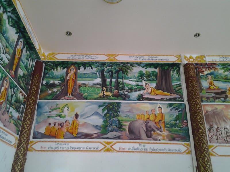 Pared del tmple de Budhha imagen de archivo libre de regalías