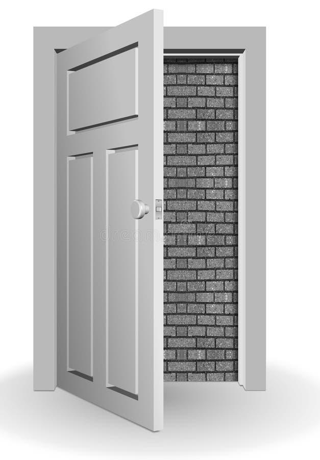Pared detrás de la puerta stock de ilustración