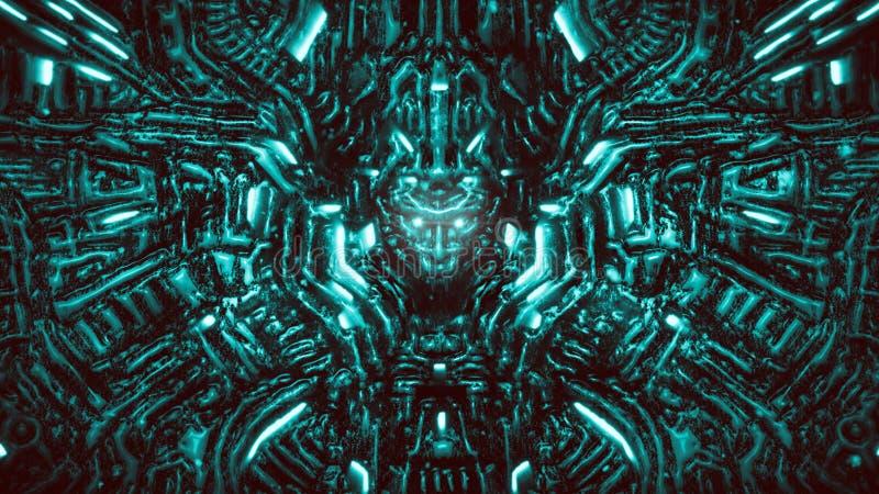 Pared electrónica con bajorrelieve y la cabeza del robot que resalta Color marino libre illustration