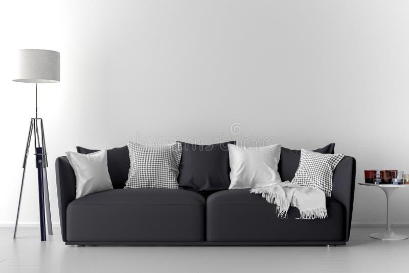 Pared en blanco en sitio vacío con el sofá ilustración del vector