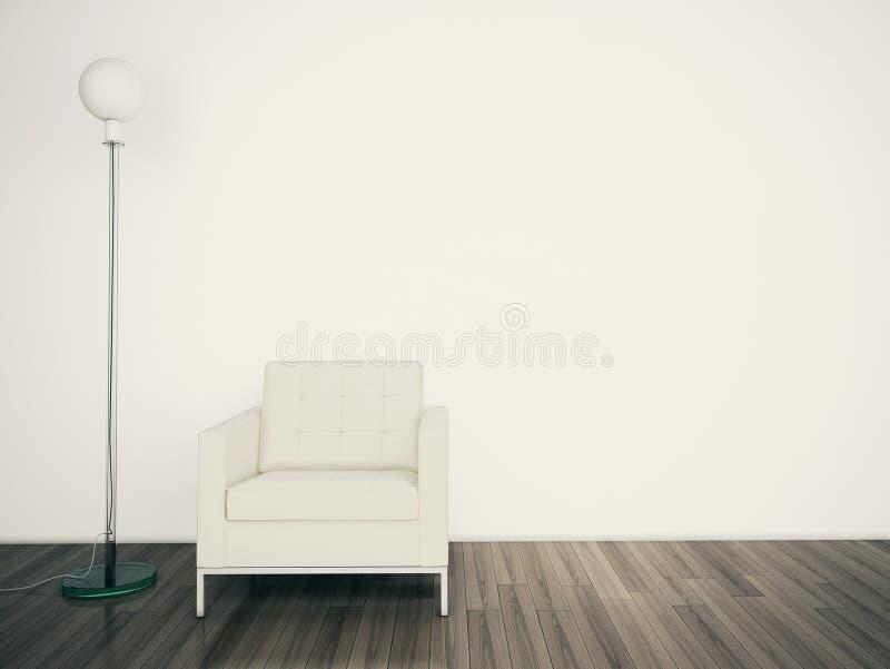 Pared en blanco moderna mínima del interior y de la lámpara ilustración del vector