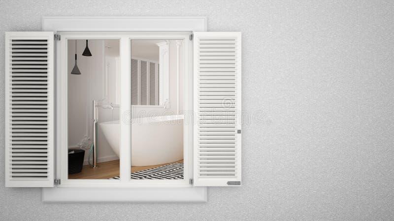 Pared exterior de yeso con ventana blanca con persianas, mostrando el interior moderno cuarto de baño, fondo en blanco con espaci stock de ilustración