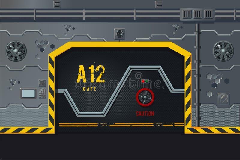 Pared futurista de la nave espacial con la puerta Concepto llano del diseño de juego Fondo de la ciencia ficción libre illustration