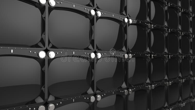 Pared grande de las pantallas brillantes negras de la TV ilustración del vector