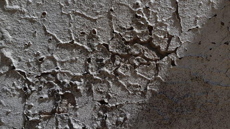 Pared gris oscuro del cemento con las grietas onduladas y profundas fotos de archivo libres de regalías
