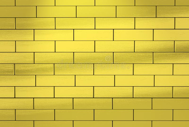 Pared hecha de ladrillos de oro abstraiga el fondo ilustración del vector