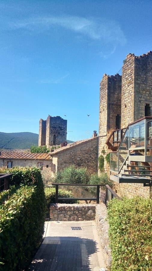 Pared histórica de Monteriggioni, Toscana Italia fotos de archivo