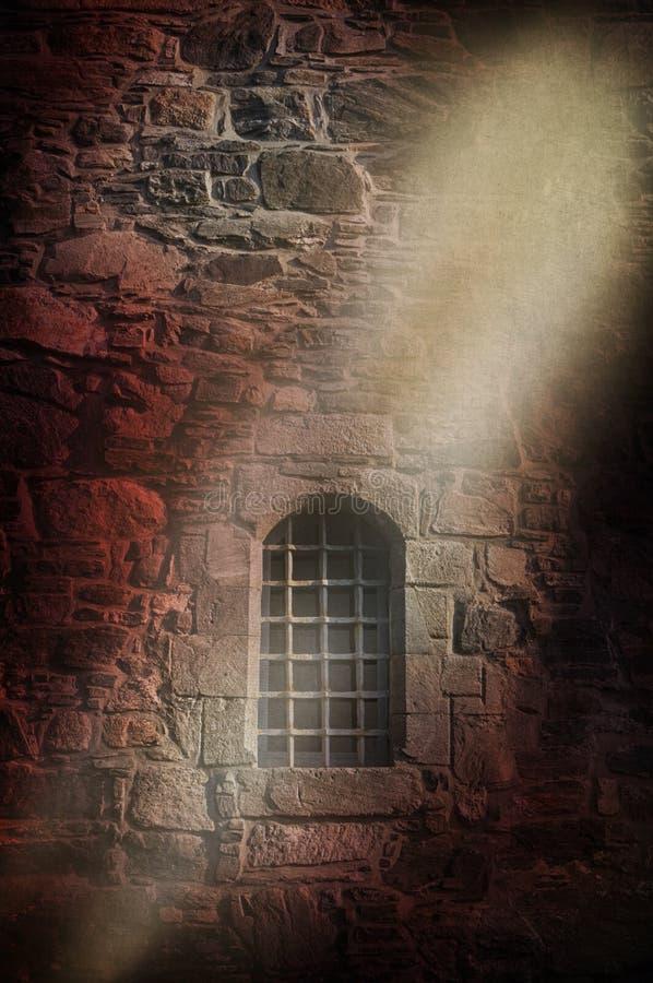 Pared medieval de la prisión fotos de archivo