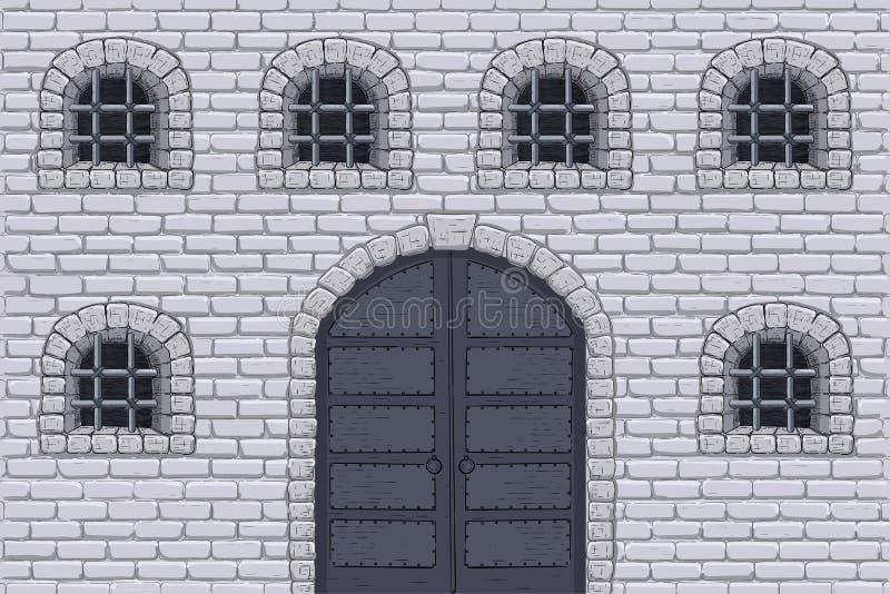 Pared medieval del castillo con las puertas y las ventanas barradas Bosquejo drenado mano stock de ilustración
