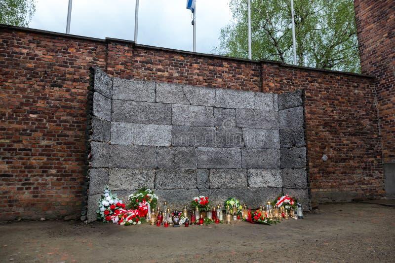 Pared que enciende, campo de exterminación alemán Auschwitz II imágenes de archivo libres de regalías