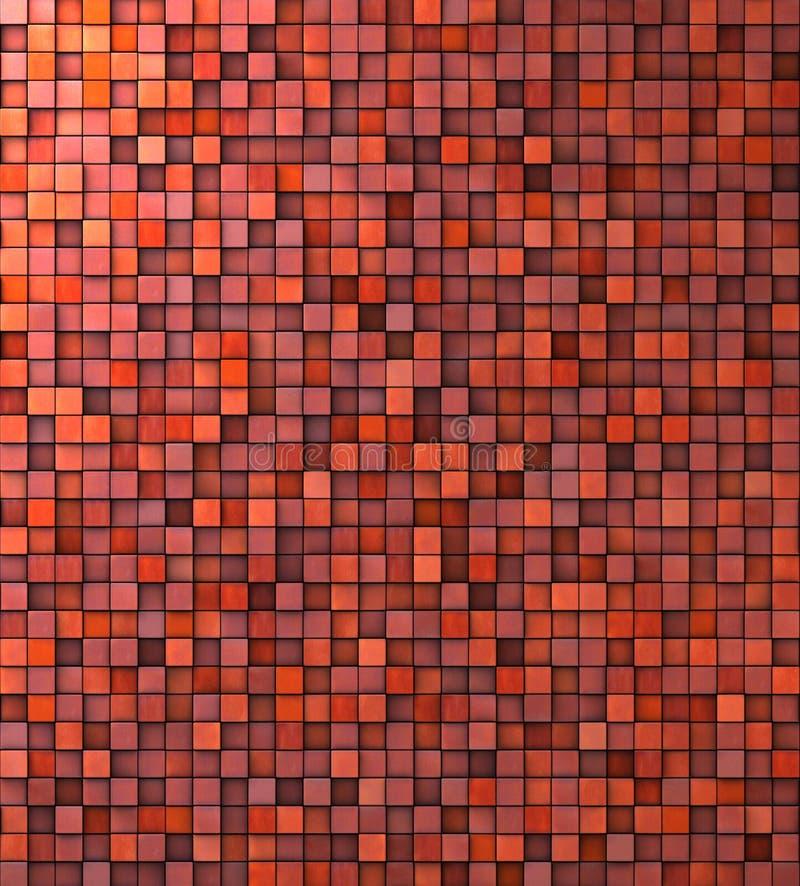 Pared sucia del mosaico en naranja rosada roja ilustración del vector