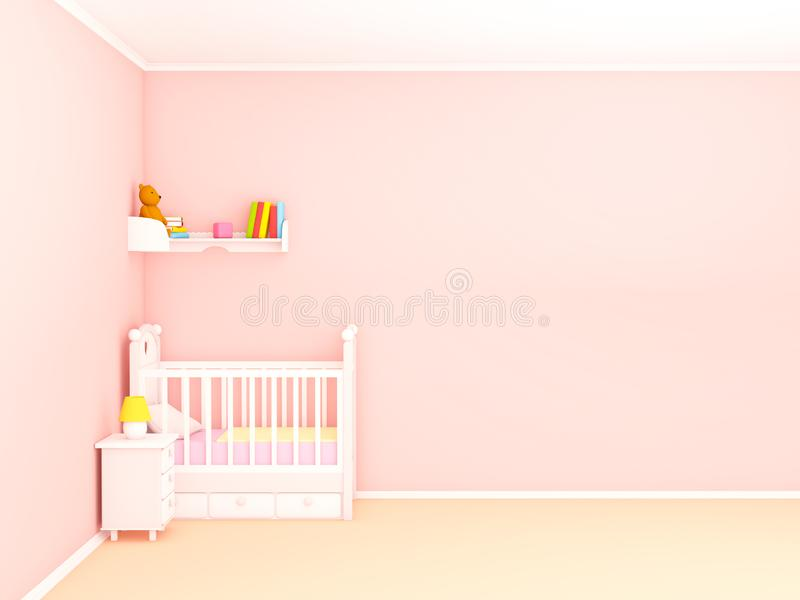 Pared vacía del dormitorio del bebé completamente libre illustration