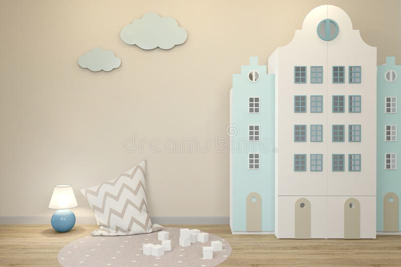 Pared vacía dentro del cuarto de niños en el estilo escandinavo Incluyó una luz de la noche libre illustration