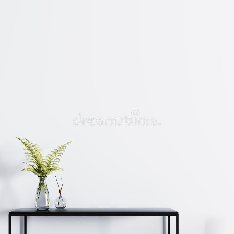 Pared vacía para el cartel de la maqueta con la tabla y la planta en un florero de cristal stock de ilustración