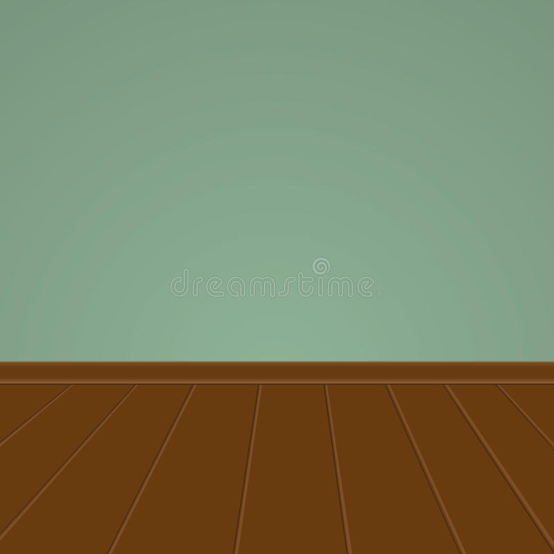 Pared verde con un piso de madera stock de ilustración