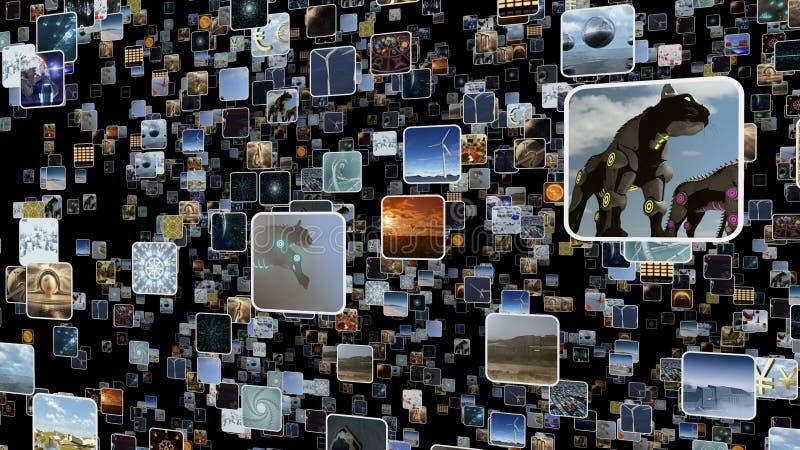 Pared video con muchos pequeños iconos surgiendo representación 3d stock de ilustración